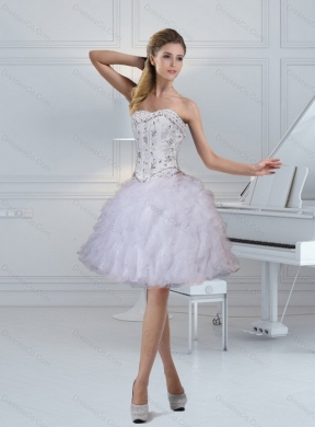 New Style Strapless White Prom Dress with Ruffles and Beading