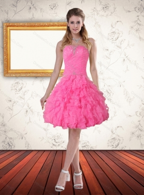 New Style Baby Pink Prom Dress with Beading and Ruffled Layers