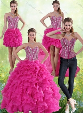 Detachable Hot Pink Quinceanera Gown with Beading and Ruffles