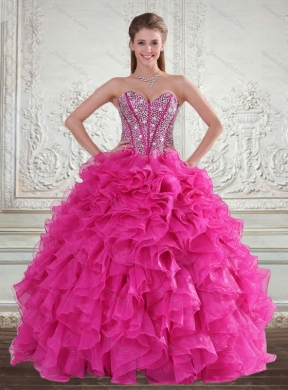 Pretty Hot Pink Quinceanera Gown with Beading and Ruffles