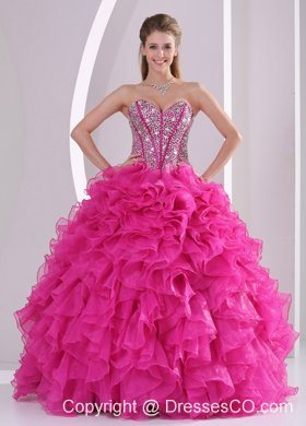 Fuchsia Ruffles Ball Gown Beaded Decorate Quinceanera Gowns in Sweet 16