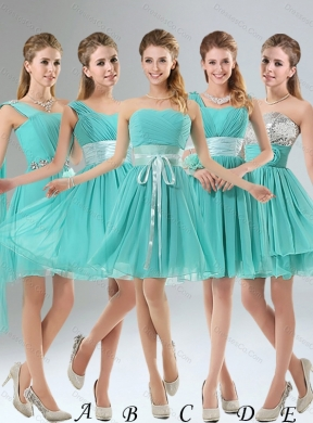 Summer A Line Ruching Lace Up Beautiful Dama Dress in Aqua Blue Color