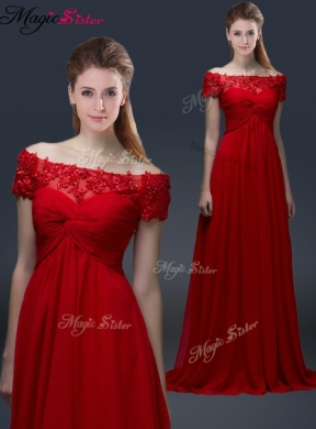 Simple Off the Shoulder Short Sleeves Red Prom Dress with Appliques