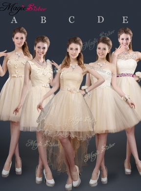 New Style Short Prom Dress with Appliques and Belt