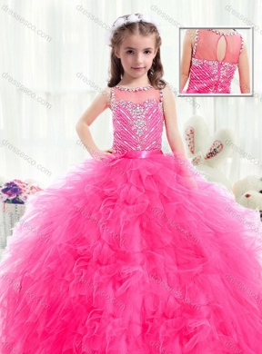 Beautiful Bateau Hot Pink Little Girls Pageant Dress with Beading