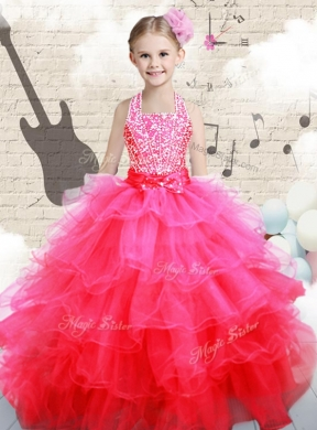 Beautiful Halter Top Hot Pink Little Girl Pageant Dress with Beading