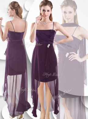Latest Spaghetti Straps High Low Bridesmaid Dressesin Burgundy