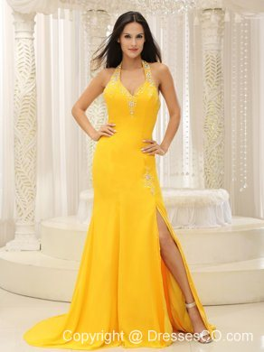 High Slit Halter Top Yellow Brush Train Evening Dress Chiffon