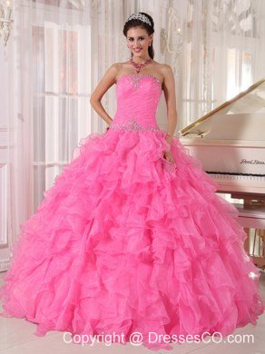 Hot Pink Ball Gown Strapless Long Organza Beading Quinceanera Dress