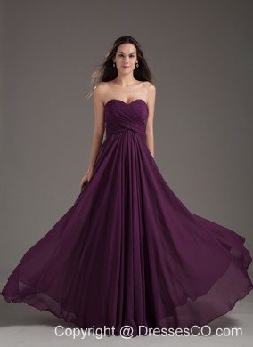 Reviews: Popular Bridesmaid Dress Empire Dark Purple Ruching Chiffon