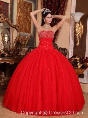 Red Ball Gown Strapless Long Tulle Beading Quinceanera Dress
