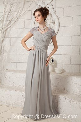 Grey Empire V-neck Long Chiffon Lace Mother Of The Bride Dress
