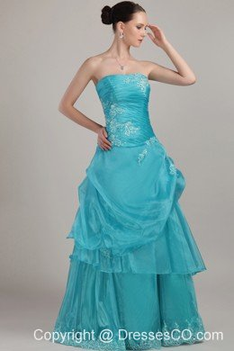 Blue Column/sheath Strapless Long Organza Appliques And Beading Prom Dress