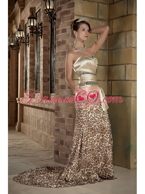 Champagne Column Brush Train Taffeta and Leopard Beading Prom Dress