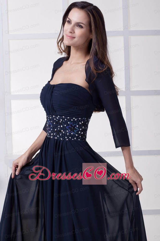 Beading Strapless Navy Blue Long Prom Dress