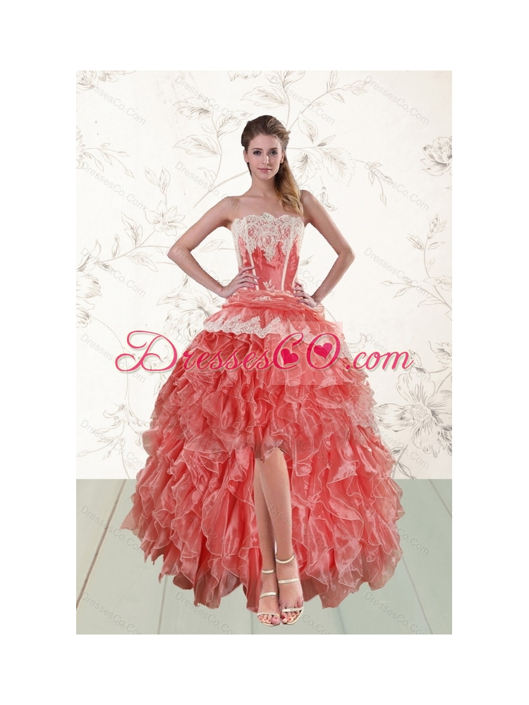 New Style Perfect High Low Ruffled Strapless Prom Dress in Watermelon