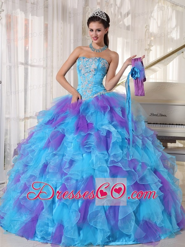 Baby Blue And Purple Ball Gown Strapless Long Organza Appliques Quinceanera Dress