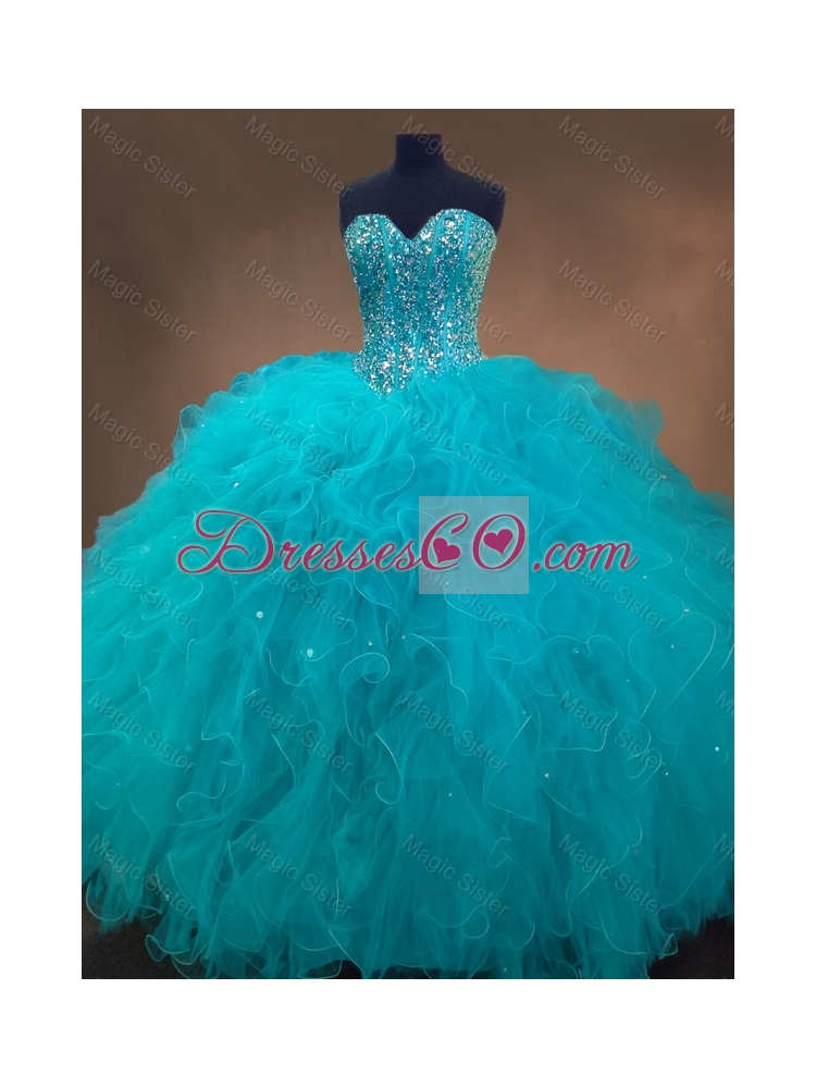 Lovely Beaded and Ruffles Quinceanera Gowns in Aqua Blue Color