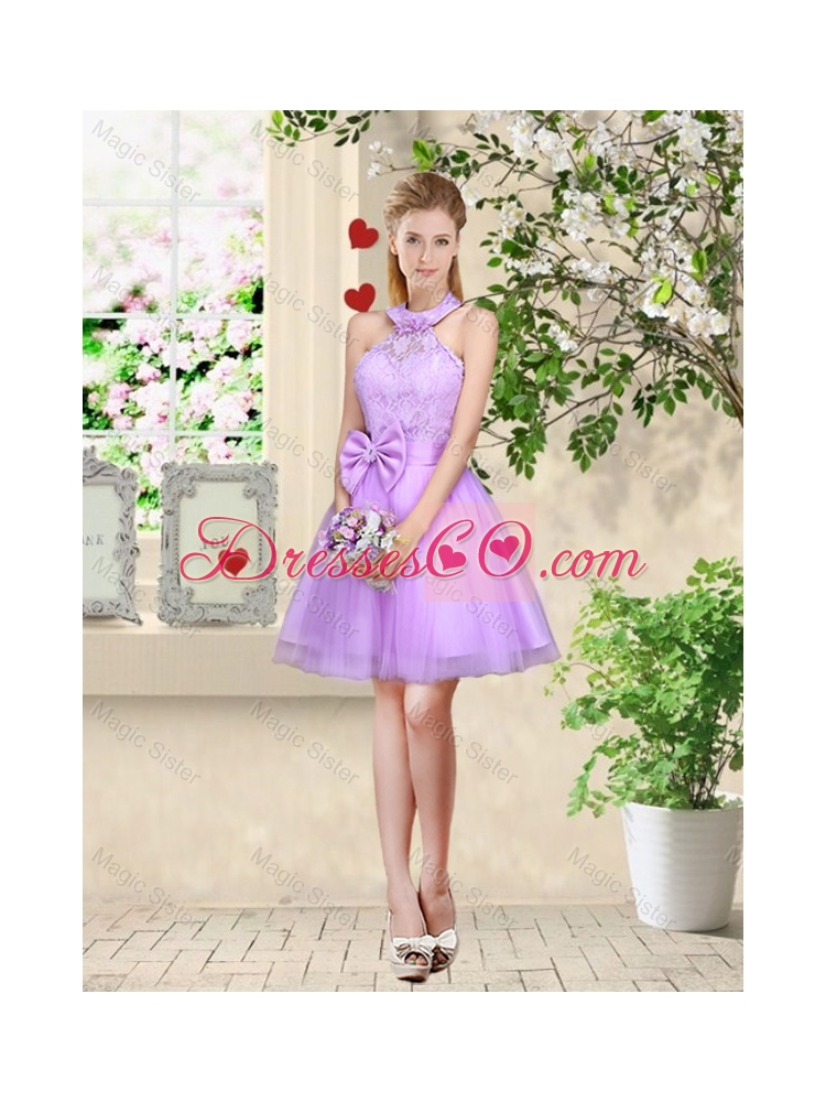 Sophisticated A Line Lavender Dama Dress with Lace and Bowknot