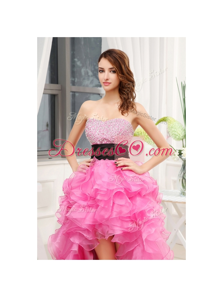 Cheap High-low Pink  Bridesmaid Dress with Beading and Belt