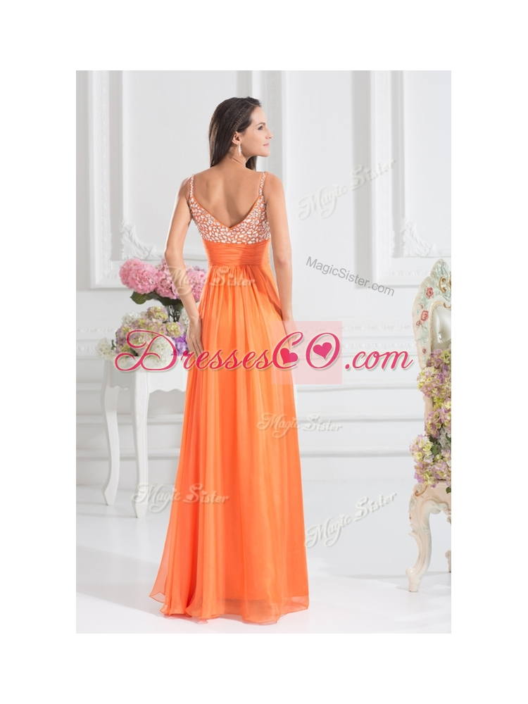 Empire Spaghetti Straps Beading Homecoming Dress for Fall