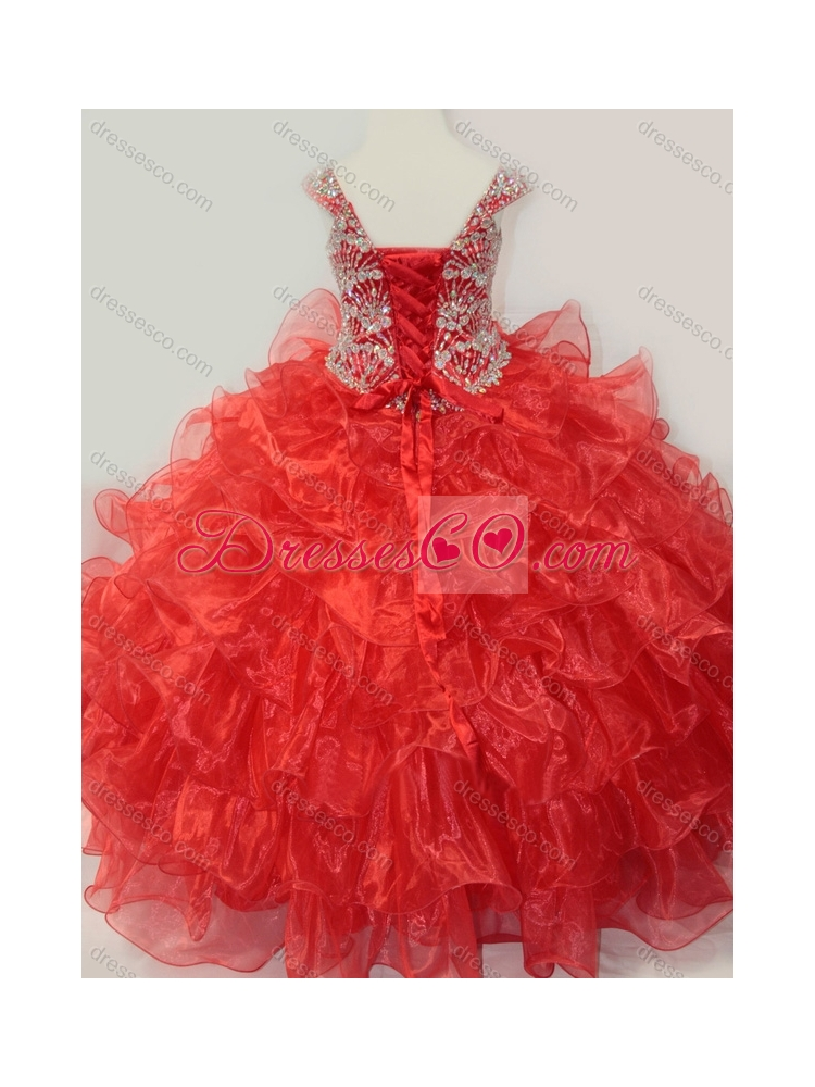 Ball Gown Straps Organza Beaded Bodice Lace Up Little Girl Pageant Dress in Red
