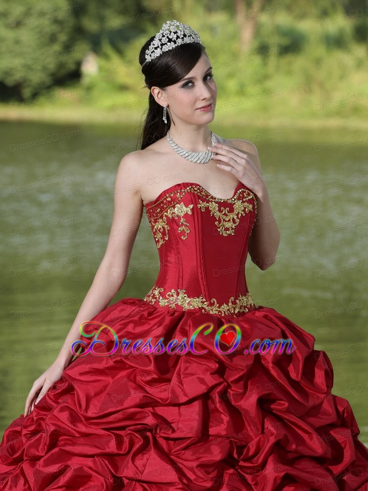 Appliques and Pick-ups Wine Red Brush Train Exquisite Style For Quinceanera Dress