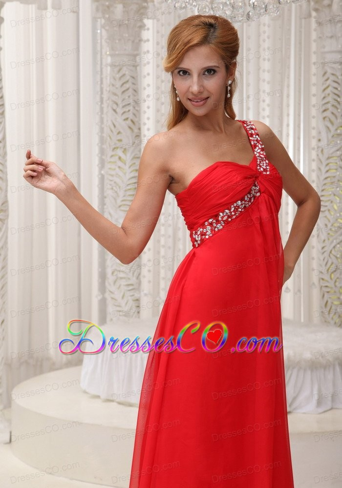 Beaded Decorate One Shoulder Red Chiffon Long For Prom Dress