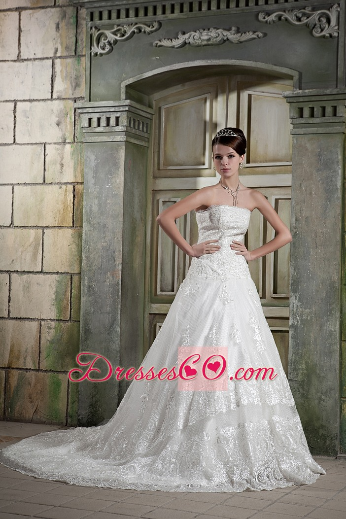 Custom Made A-line Strapless Chapel Train Lace Wedding Dress