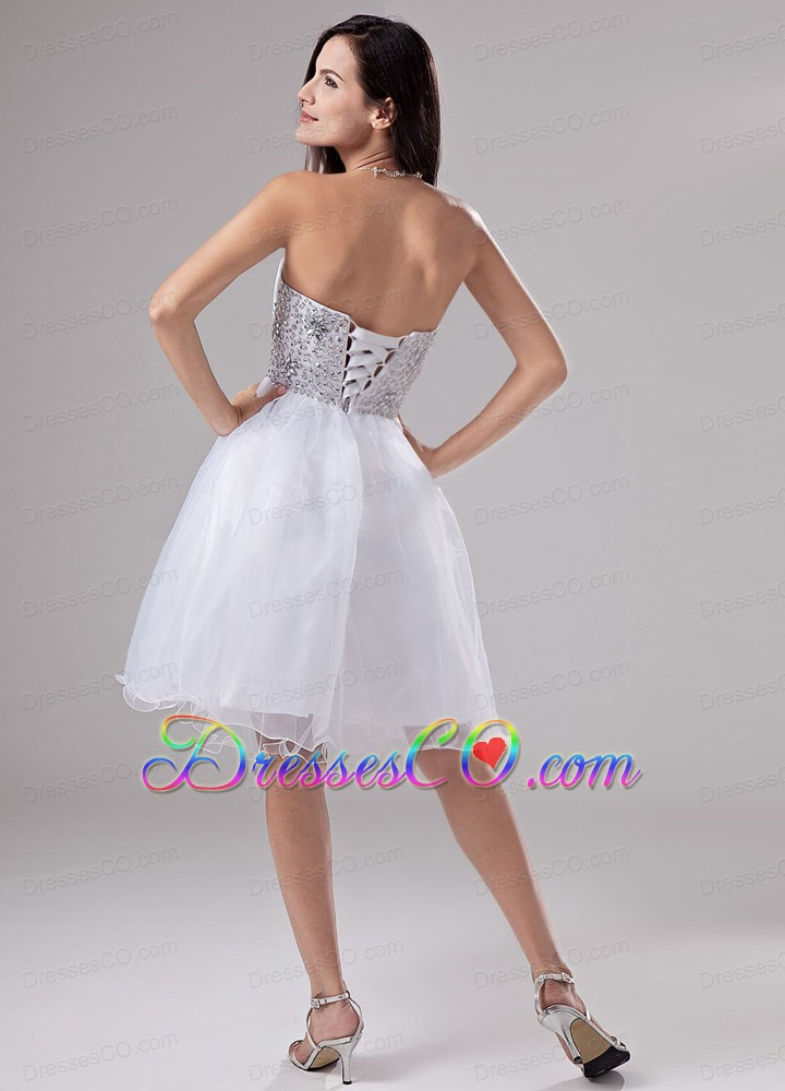 Beaded Decorate Waist Knee-length Organza A-line Prom Dress